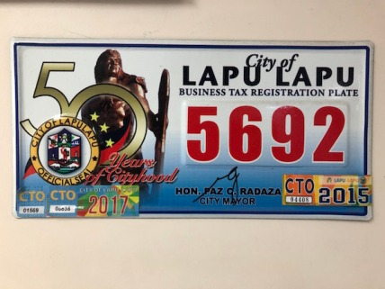LAPU LAPU市からの法人税登録板